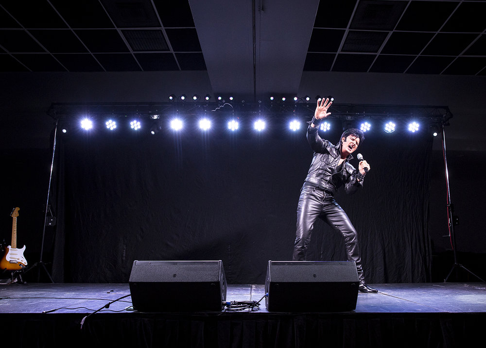 Ron Tutor of Tinley Park, Ill. delivers his Elvis tribute during the Midwest Tribute to King Friday, Feb. 16, 2018 Route 66 Hotel and Conference Center in Springfield, Ill. [Rich Saal/The State Journal-Register]