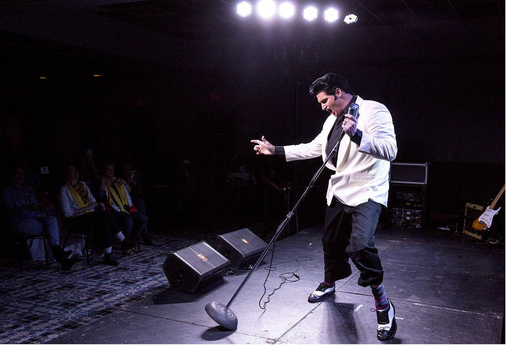 Ryan Williams of Lincoln channels Elvis Presley during the preliminary round of the Midwest Tribute to King Friday, Feb. 16, 2018 at the Route 66 Hotel and Conference Center in Springfield, Ill. Seventeen Elvis tribute artists are competing during the weekend event, with the final round beginning tonight at 7 p.m. [Rich Saal/The State Journal-Register]