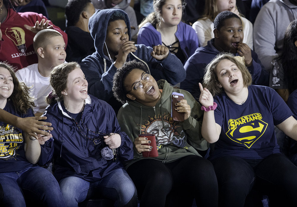 Southeast fans sway to the opening cheers before tip off against Lanphier at Southeast High School Tuesday,  Feb. 20, 2018. [Ted Schurter/The State Journal-Register]