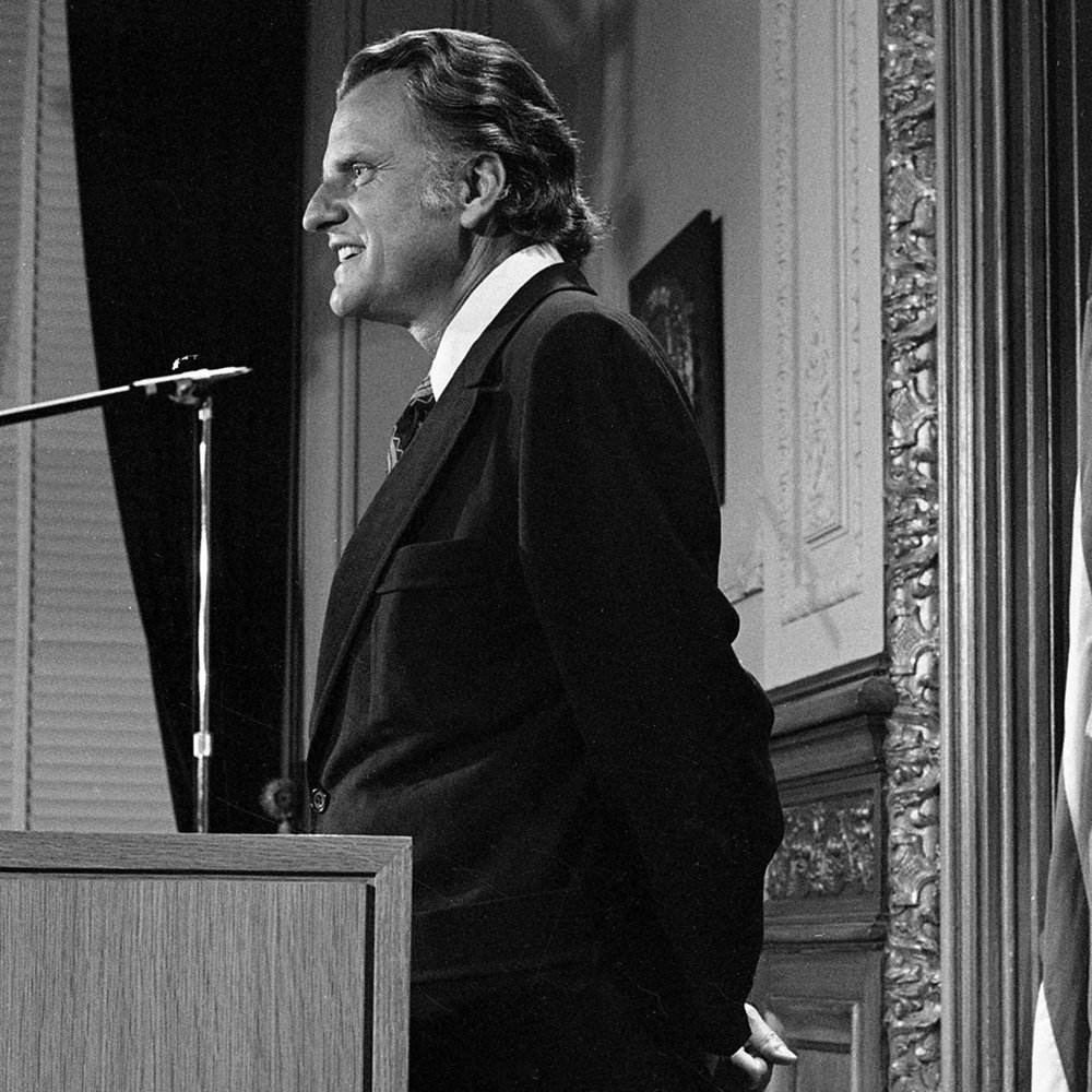The Rev.Billy Graham, introduced at press conference by Illinois Republican Gov. Richard Olgivie, April 19, 1972. Graham was speaker at the governor's annual prayer breakfast. File/The State Journal-Register