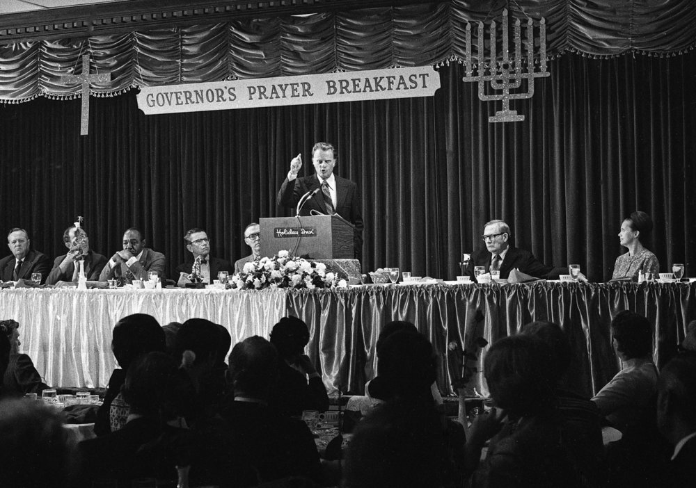 The Rev.Billy Graham speaking at the Governor's Prayer Breakfast at the Holiday Inn East April 20, 1972. File/Bill Hagen/The State Journal-Register