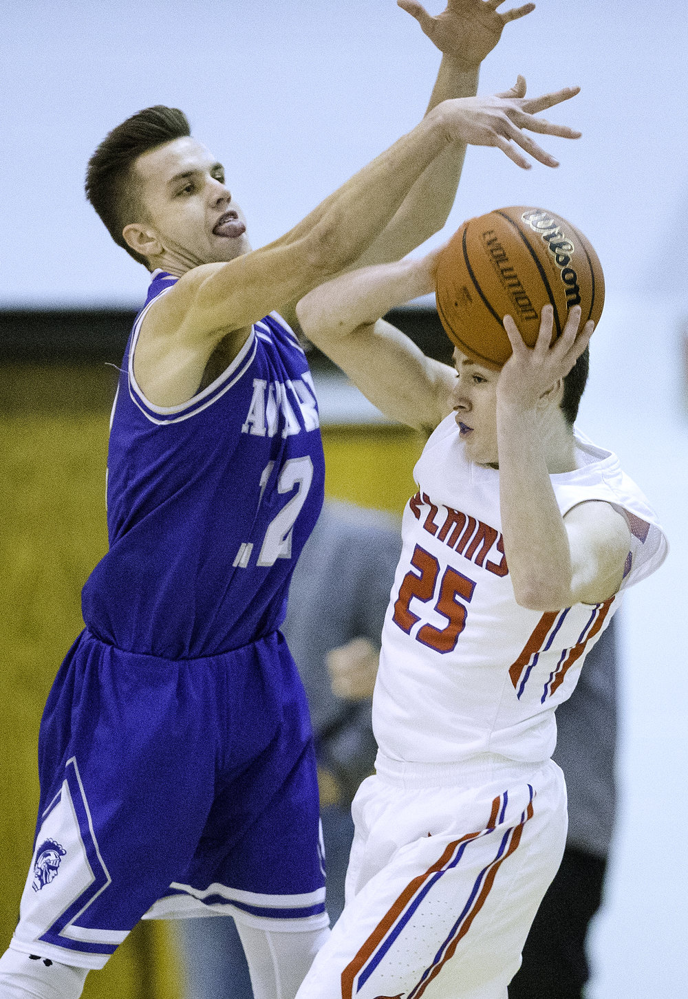 Auburn's Colby Bossmann pressures Pleasant Plains' Corgan Greer during the Class 2A Auburn Regional at Auburn High School Wednesday,  Feb. 21, 2018. [Ted Schurter/The State Journal-Register]