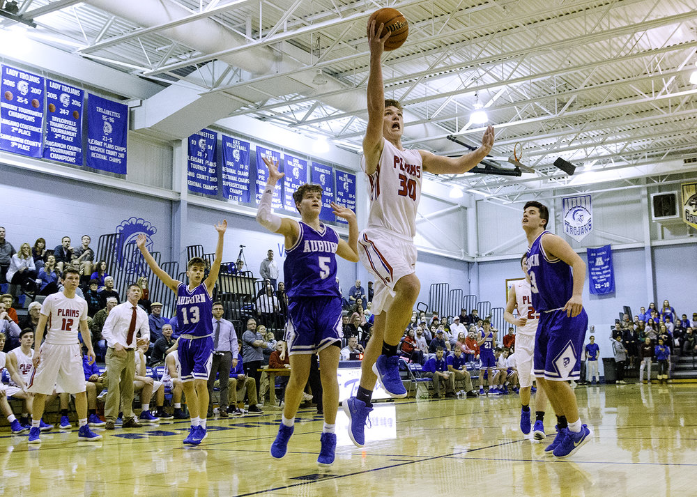 Pleasant Plains' Joel Niermann scores two in the fourth quarter to bring the Cardinals within one of Auburn during the Class 2A Auburn Regional at Auburn High School Wednesday,  Feb. 21, 2018. [Ted Schurter/The State Journal-Register]