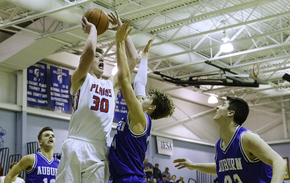 Pleasant Plains' Joel Niermann makes the game-winning shot with three seconds left during the Class 2A Auburn Regional at Auburn High School Wednesday,  Feb. 21, 2018. [Ted Schurter/The State Journal-Register]