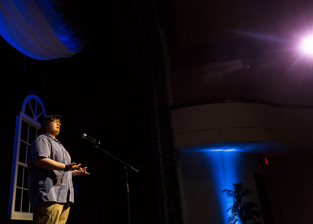 "Ian Unsbee of Southeast High School recites ""The Affliction of Richard,"" a poem by Robert Bridges, during the Poetry Out Loud Central Illinois Regional Contest Wednesday, Feb. 21, 2018 at the Hoogland Center for the Arts in Springfield, Ill. Two students who advanced will compete with other regional finalists from around the state in the state competition March 9 at the Hoogland. The event was hosted by the Springfield Area Arts Council. [Rich Saal/The State Journal-Register]