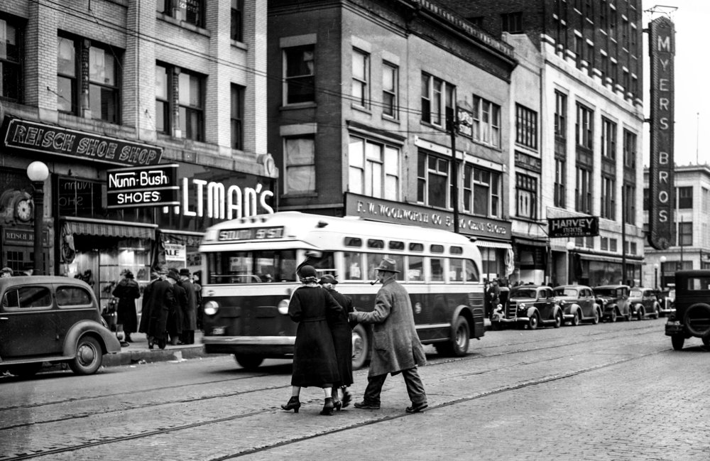 Fifth Street, looking north from Adams, downtown public square, Myers Brothers, Orpheum, Woolworth's, March 4, 1939