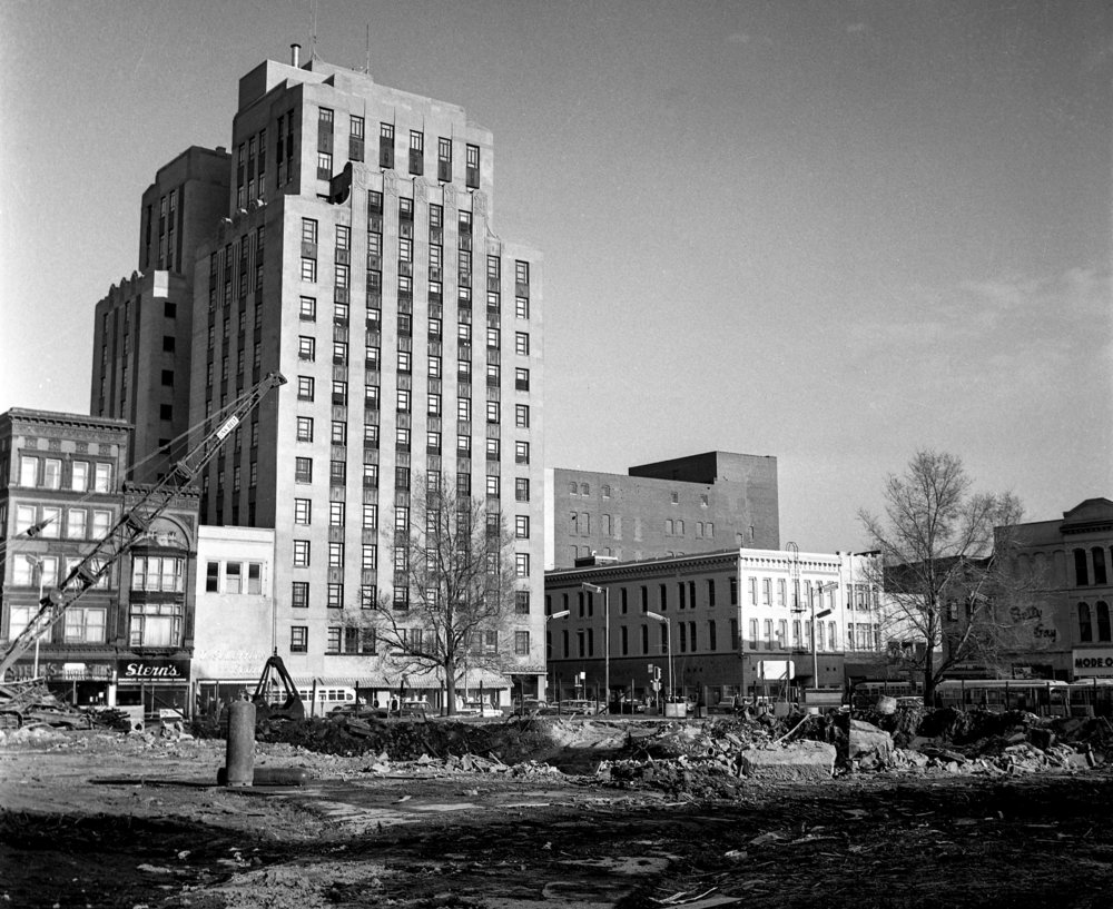 Downtown Springfield public square with Old State Capitol demolished before restoration, April 8, 1966. File/The State Journal-Register