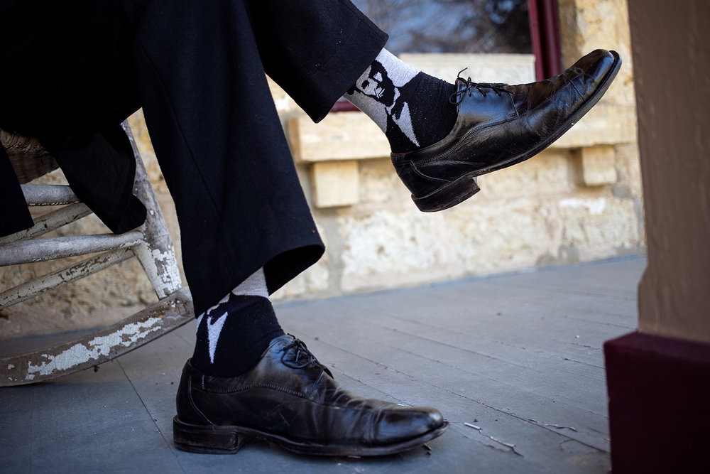 Ron Carley sports an image of Lincoln on his socks during the Association of Lincoln Presenters annual convention Friday, April 20, 2018 in Freeport, Ill. [Rich Saal/The State Journal-Register]