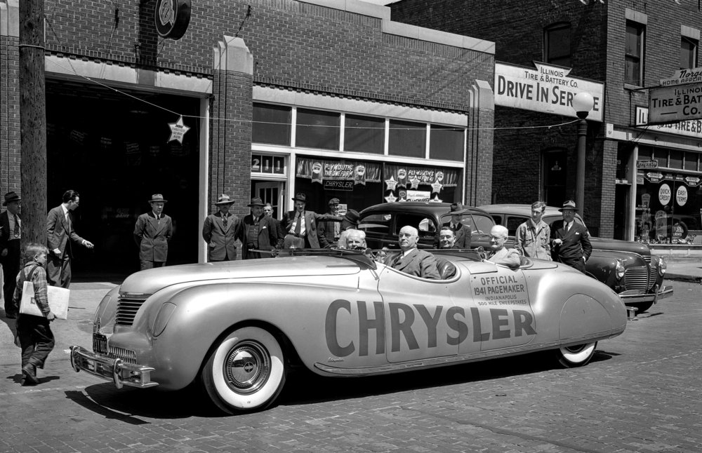 The 1941 Chrysler Newport, Indy 500 Pace Car, displayed at the W.D. Newman Chrysler Plymouth dealership in Springfield, April 1941. File/The State Journal-Register