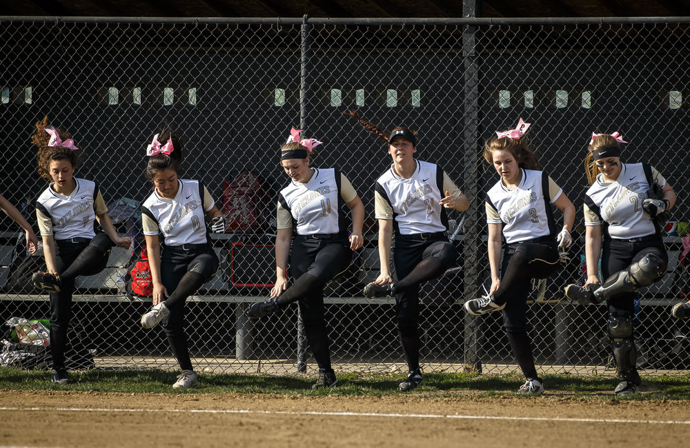 "The Sacred Heart Griffin Cyclones dance to ""Cotten Eye Joe"" prior to taking on Alton Marquette at SHG's West Campus, Thursday, April 12, 2018, in Springfield, Ill. [Justin L. Fowler/The State Journal-Register]"