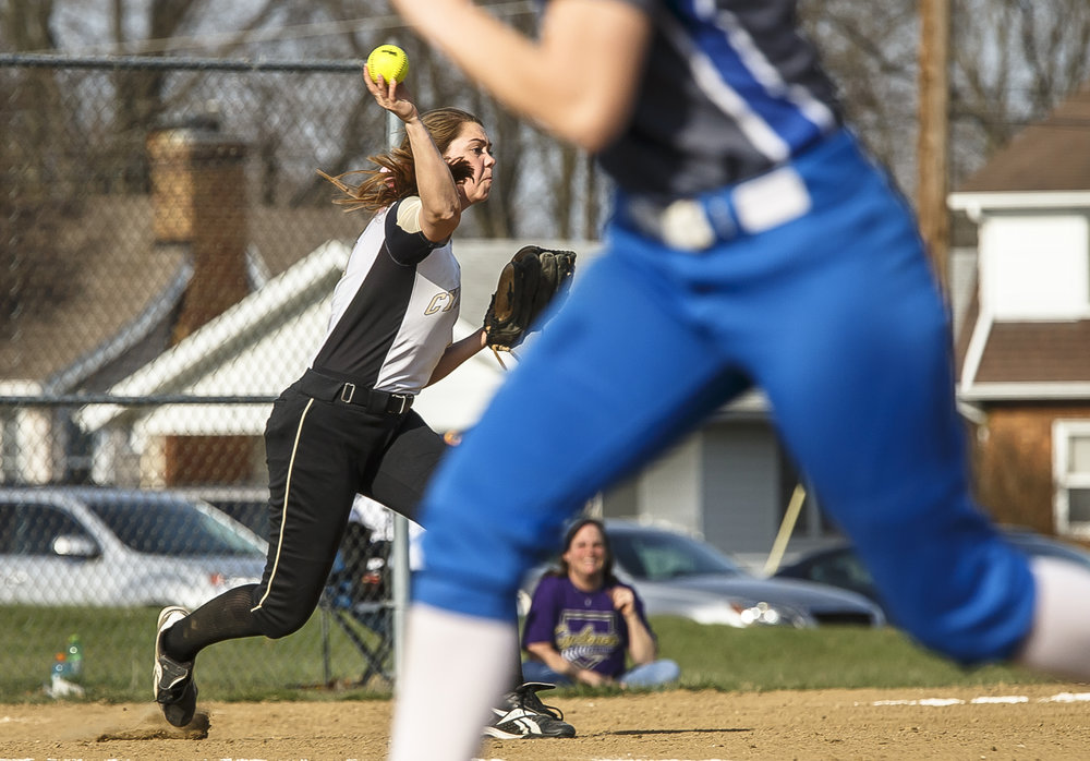 Sacred Heart-Griffin's Abigail Antonacci (15) turns a double play against Alton Marquette at SHG's West Campus, Thursday, April 12, 2018, in Springfield, Ill. [Justin L. Fowler/The State Journal-Register]