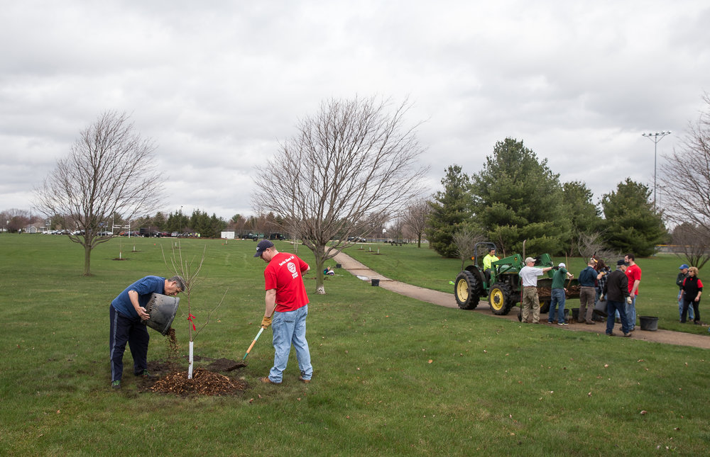 Members of the Rotary Club of Springfield South places mulch around the bases of 22 newly planted trees the group planted in Rotary Park, Saturday, April 14, 2018, in Springfield, Ill. Along with trees the Springfield Park District will also put up six Peterson bluebird nest boxes from the group which is part of a collaborative effort undertaken by all five Rotary clubs in Springfield in response to Rotary International President Ian Riseley's challenge to plant 1.2 million trees, one for each Rotarian worldwide. [Justin L. Fowler/The State Journal-Register]