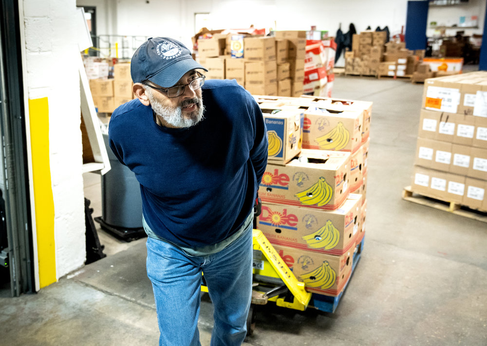 Alfred Hampton volunteers four days a week at the Central Illinois Foodbank. He was recently named one of six recipients of the GovernorÕs Volunteer Service Award for service in East Central Illinois. Hampton was photographed Tuesday, April 17, 2018. [Rich Saal/The State Journal-Register]
