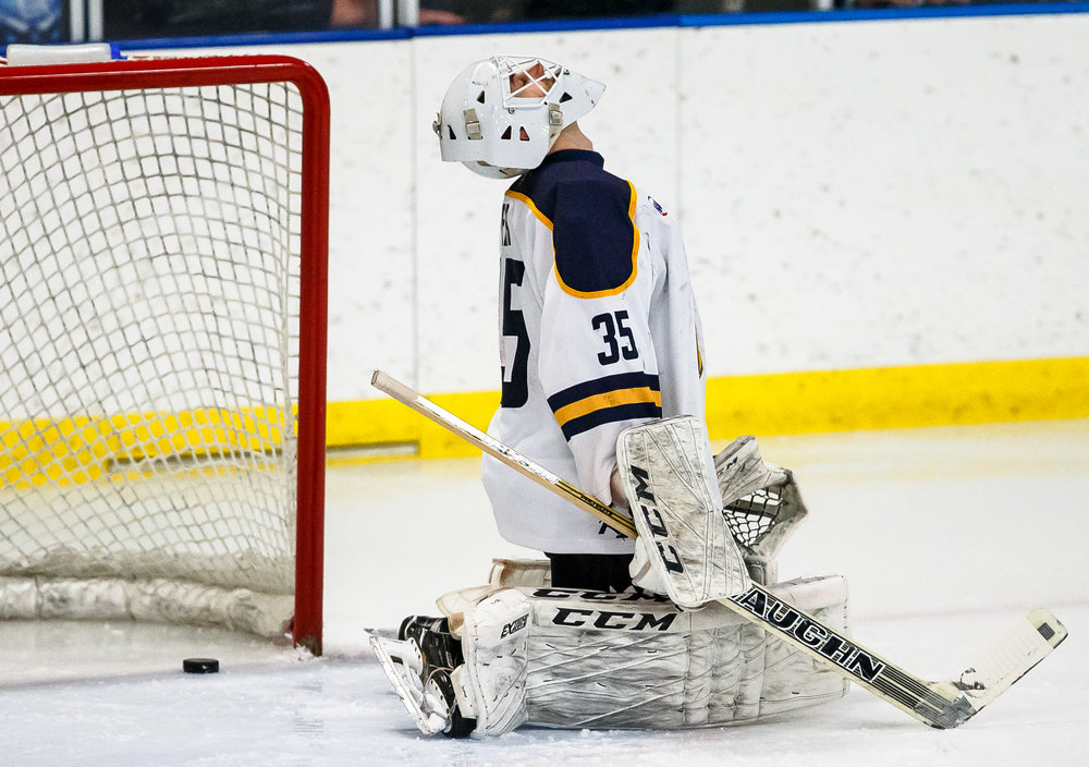 Springfield goaltender Evan Fear (35) reacts as a shot from Janesville's Jakov Novak (68) get passed him to make put the Jets up 1-0 in the first period during the first round of the first-round North American Hockey League playoff series at the Nelson Center, Friday, April 20, 2018, in Springfield, Ill. [Justin L. Fowler/The State Journal-Register]