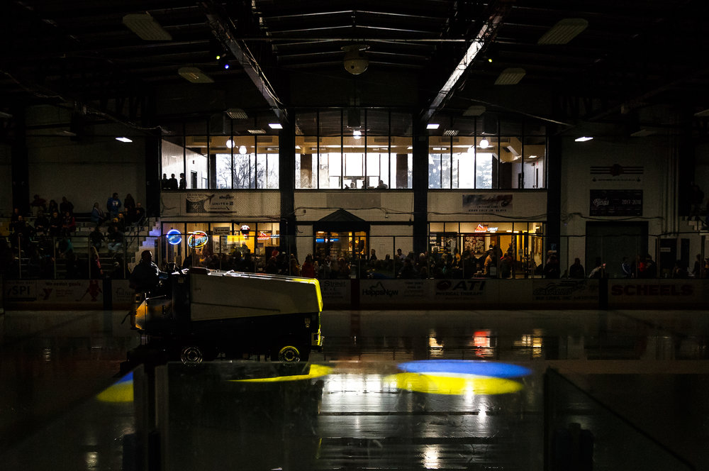 The zamboni prepares the ice for the Springfield Jr. Blues to take on the Janesville Jets in the first round of the first-round North American Hockey League playoff series at the Nelson Center, Friday, April 20, 2018, in Springfield, Ill. [Justin L. Fowler/The State Journal-Register]