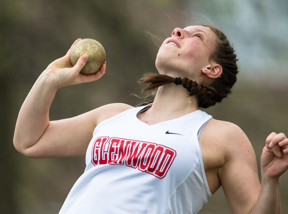 Glenwood's Makenzie Bray won the Shot Put setting a new personal record of 40-01.00 during the Girls CS8 Track & Field Meet at Eisenhower High School, Thursday, May 3, 2018, in Springfield, Ill. [Justin L. Fowler/The State Journal-Register]