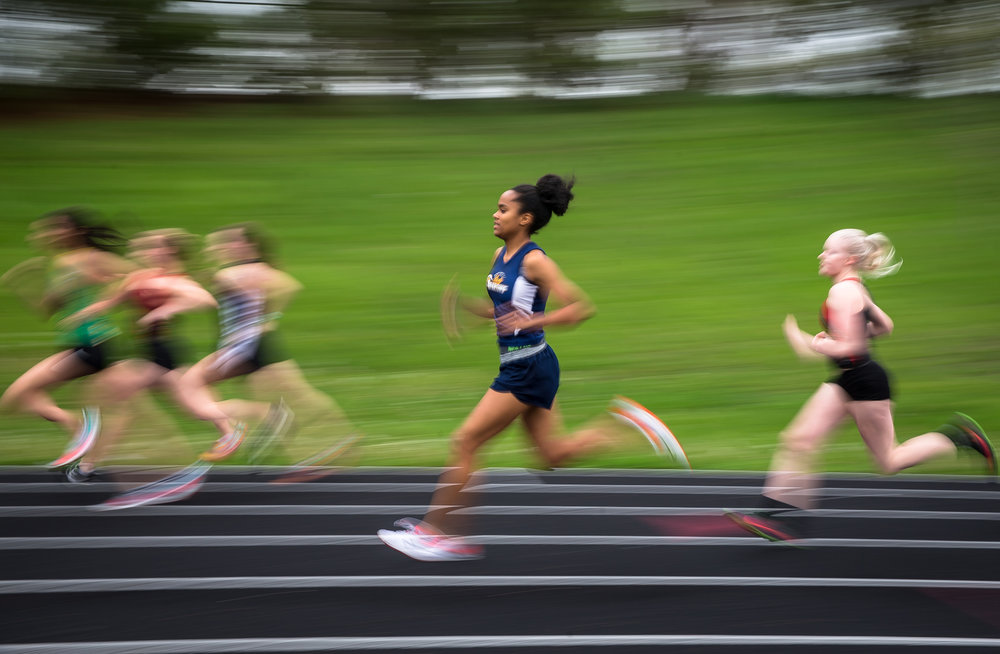 Southeast's Sydney Huffman heads out on the start of the 800m Run	 during the Girls CS8 Track & Field Meet at Eisenhower High School, Thursday, May 3, 2018, in Springfield, Ill. Huffman won the event with a new personal record of 2:26.08. [Justin L. Fowler/The State Journal-Register]