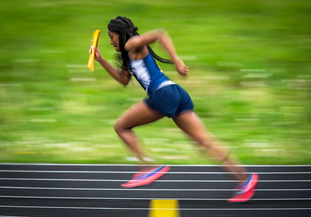 Southeast's Summer Williams takes off on the first leg of the 4x200m Relay during the Girls CS8 Track & Field Meet at Eisenhower High School, Thursday, May 3, 2018, in Springfield, Ill. [Justin L. Fowler/The State Journal-Register]