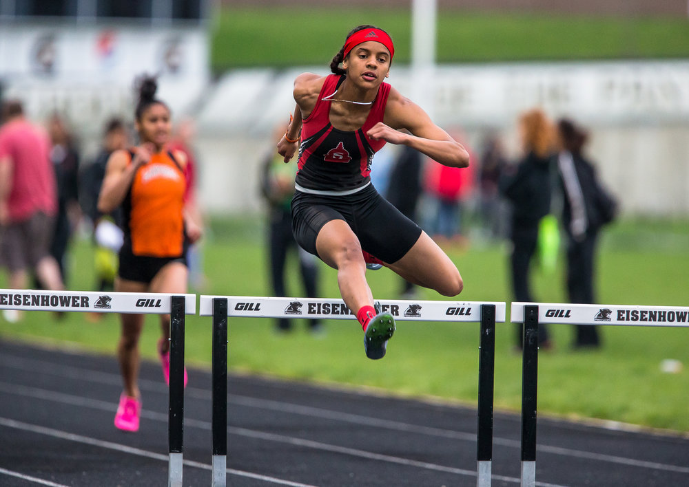 Springfield's Lauren Ferguson wins the 300m Hurdles with a time of 46.26 during the Girls CS8 Track & Field Meet at Eisenhower High School, Thursday, May 3, 2018, in Springfield, Ill. [Justin L. Fowler/The State Journal-Register]