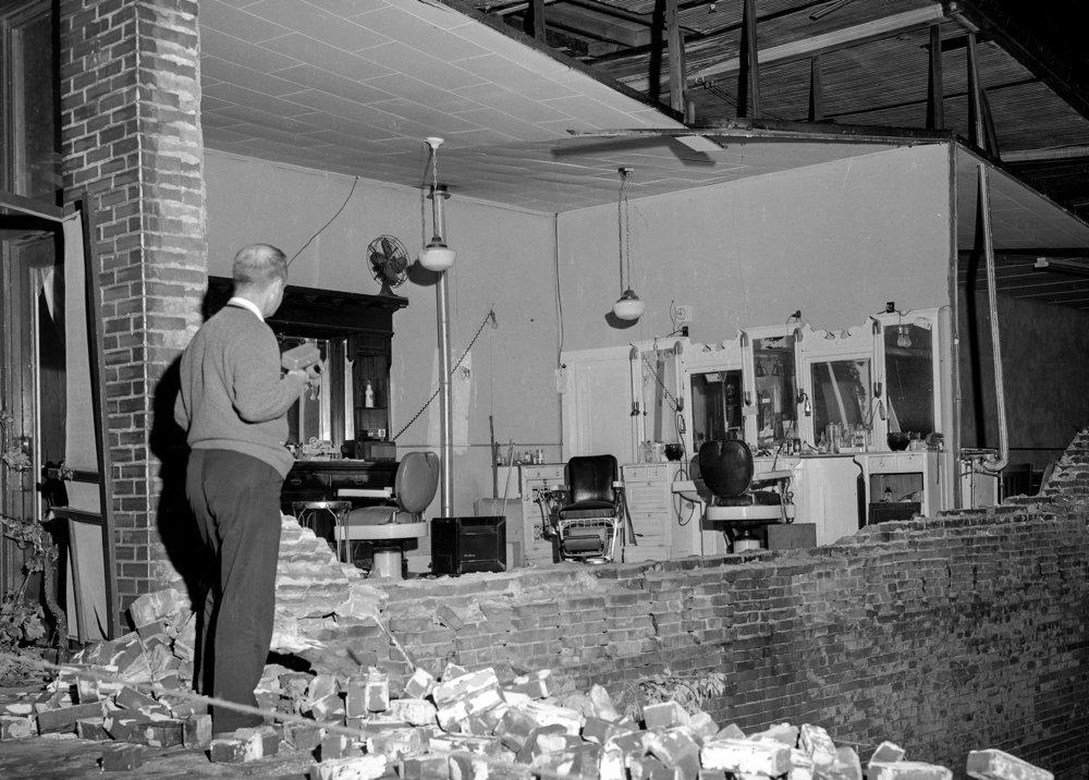 Tornado damage, barbershop, New Berlin, May 15, 1961