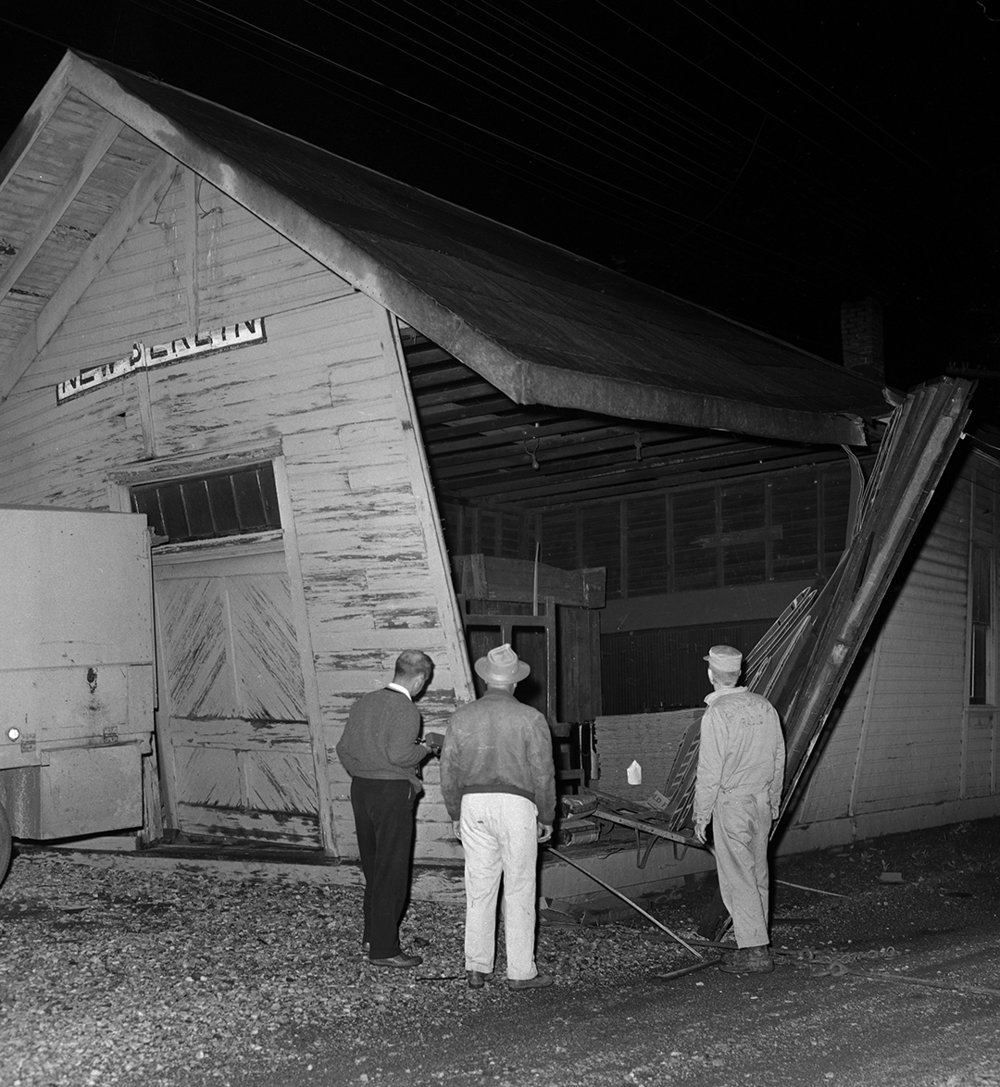 Tornado damage at the Wabash Railroad depot, New Berlin, May 14, 1961. File/The State Journal-Register