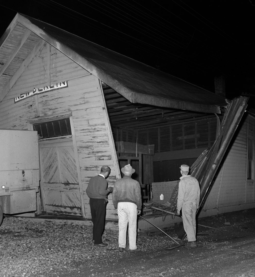The Wabash Railroad depot was damaged when a tornado struck New Berlin May 15, 1961. File/The State Journal-Register
