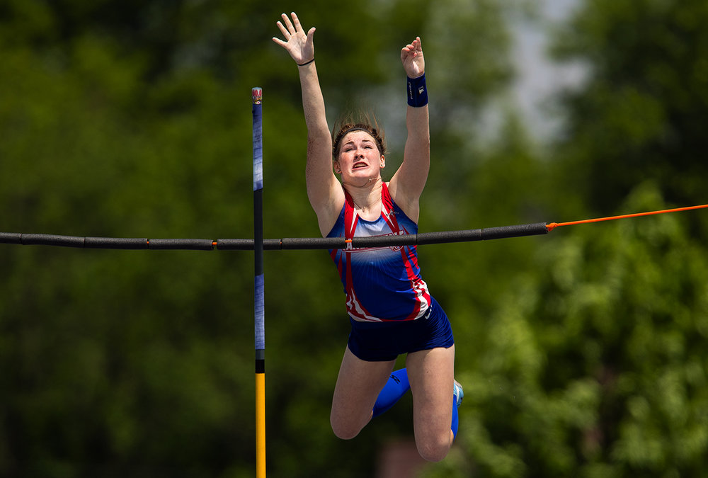 Carlinville's Emma Smith clears the bar on her way to a Class A third place finish in the pole vault at the IHSA Track and Field State Finals at O'Brien Field in Charleston, Ill., Saturday, May 19, 2018.  [Ted Schurter/The State Journal-Register]