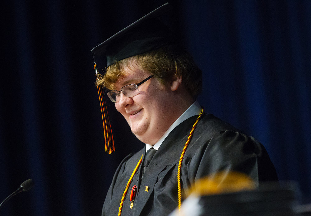 Lanphier class president Cyrus Rhodes addresses the crowd during the 99th Commencement for Lanphier High School at the Bank of Springfield Center Saturday, June 2, 2018. [Ted Schurter/The State Journal-Register]