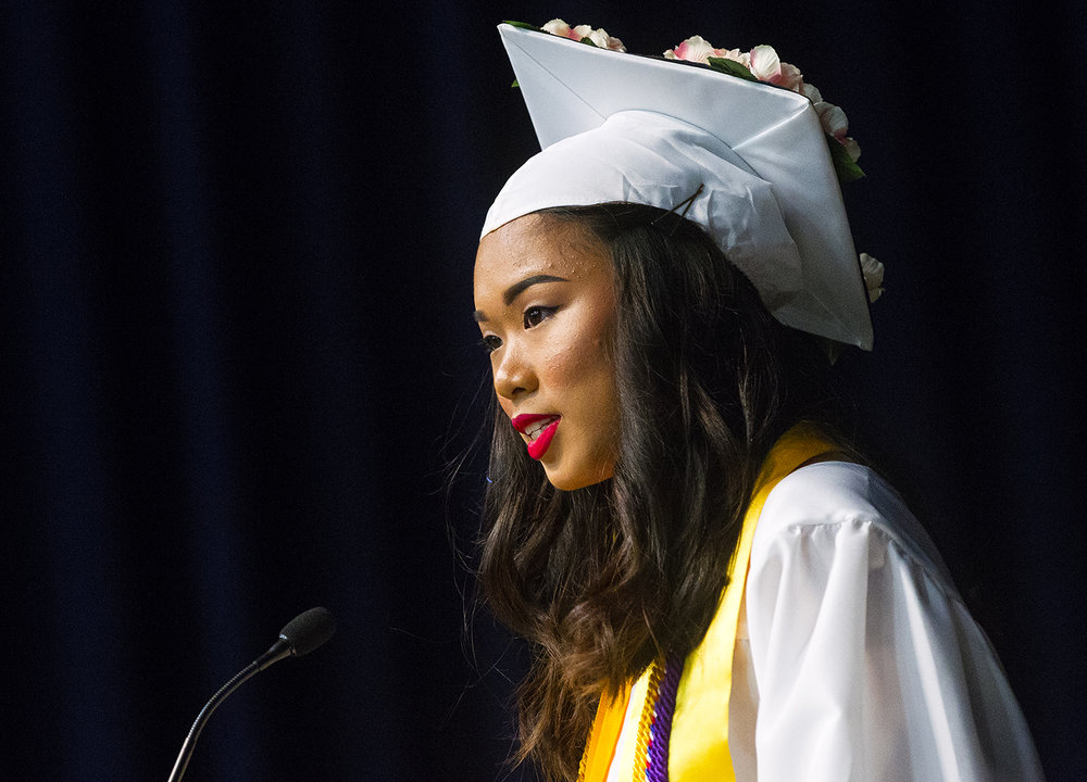 Lillian Ye gives the Valedictorian address during the 51st Commencement for Springfield Southeast High School at the Bank of Springfield Center Saturday, June 2, 2018. [Ted Schurter/The State Journal-Register]