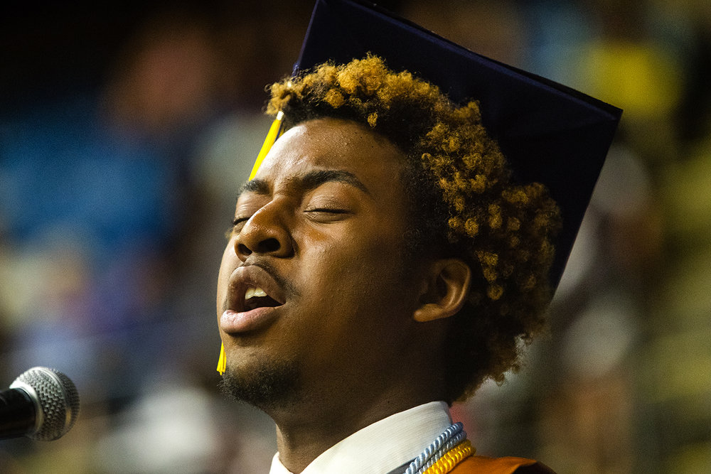 "Wynton Gage performs ""Home"" during the 51st Commencement for Springfield Southeast High School at the Bank of Springfield Center Saturday, June 2, 2018. [Ted Schurter/The State Journal-Register]"