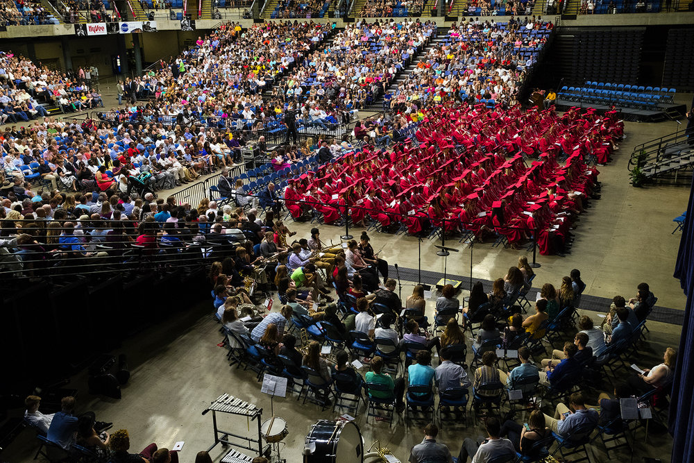 Students listen to Valedictorian Sage Thompson during Commencement for Springfield High School at the Bank of Springfield Center Saturday, June 2, 2018. [Ted Schurter/The State Journal-Register]