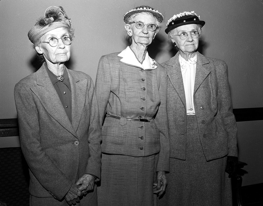 Recognized for 50 years or more with the King's Daughters circles and organization at 61st annual corporation meeting, held May 3, 1954 at Laurel United Methodist Church. From left, Mrs. J.D. Haworth, Cheerful Workers circle; Mrs. Sophia Marsh, Sophia Marsh circle and Mrs. D.M.Stewart, Dorcas circle. [File/The State Journal-Register]