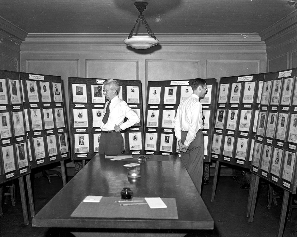 "Display of ""famous Americans and their checks,"" presented by Colonial Trust Co., June 13, 1941."