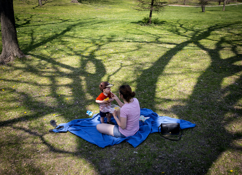 Lauren Mardirosian and her son, Gabriel, picnic in Washington Park Tuesday, May 1, 2018  in Springfield, Ill. [Rich Saal/The State Journal-Register]