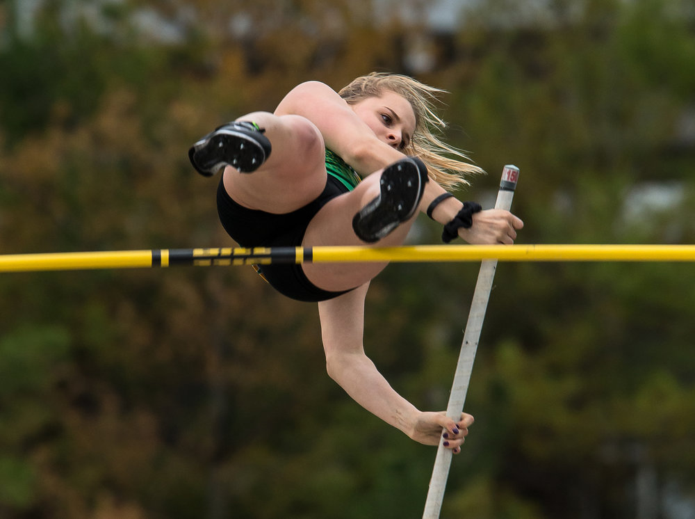 Normal U-High's McKenna Sapp cleared 11-07.00 setting a new meet record and winning the Pole Vault during the Girls CS8 Track & Field Meet at Eisenhower High School, Thursday, May 3, 2018, in Springfield, Ill. [Justin L. Fowler/The State Journal-Register]