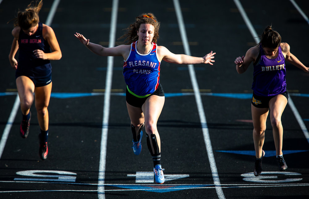 Pleasant Plains' Alli Morley wins the Girls 100m Dash with a time of 13.31 during the Sangamon County Track & Field Meet at Athens High School, Friday, May 4, 2018, in Athens, Ill. [Justin L. Fowler/The State Journal-Register]