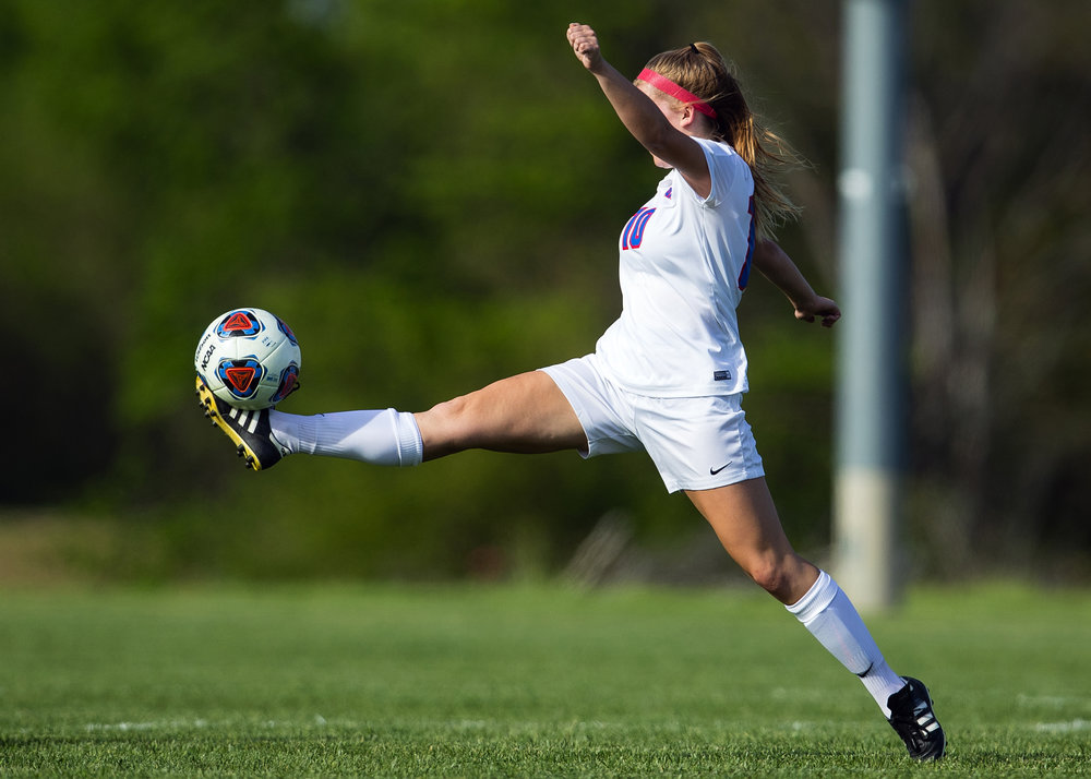 Pleasant Plains' Mandy Watson stretches out to corral a long pass against Athens during the Class 1A girls soccer regional championship at Pleasant Plains Friday, May 11, 2018. [Ted Schurter/The State Journal-Register]