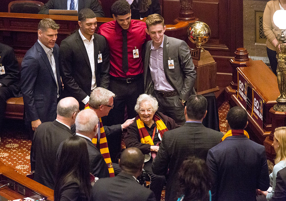 Sister Jean Dolores Schmidt, the chaplain of the Loyola-Chicago Ramblers, was the center of attention on the House floor when the team was honored Wednesday, May 9, 2018 at the Capitol in Springfield, Ill. Schmidt, Coach Porter Moser and three players from the team that went to the NCAA Final Four tournament in March were lauded in separate ceremonies in both the House and the Senate. [Rich Saal/The State Journal-Register]