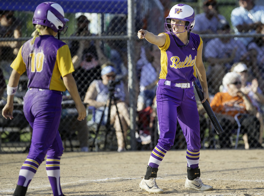 Williamsville's Skylar Dees is pysched after Williamsville's Molly Walter scores against Beecher during the Class 2A softball state semifinal at the EastSide Centre in East Peoria Friday, June 1, 2018. [Ted Schurter/The State Journal-Register]