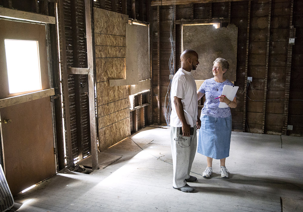 Sr. Kathleen Kenny of the Springfield Dominican religious community, and Calvin Pitts talk in a house at 925 N. Fifth St. that is being rehabbed to create a house of hospitality run by the sisters Thursday, June 7, 2018. When completed, the house will have room for three Dominicans and up to three lay women who want to immerse themselves in community living, prayer and service. Pitts is the general contractor on the project. [Rich Saal/The State Journal-Register]