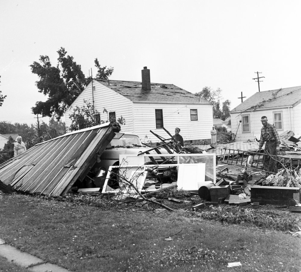 A damaged home, address unknown, after a tornado struck Springfield June 14, 1957. The storm caused more than $1 million in damages, killed three people, injured more than 50 and destroyed 20 to 25 homes. File/The State Journal-Register