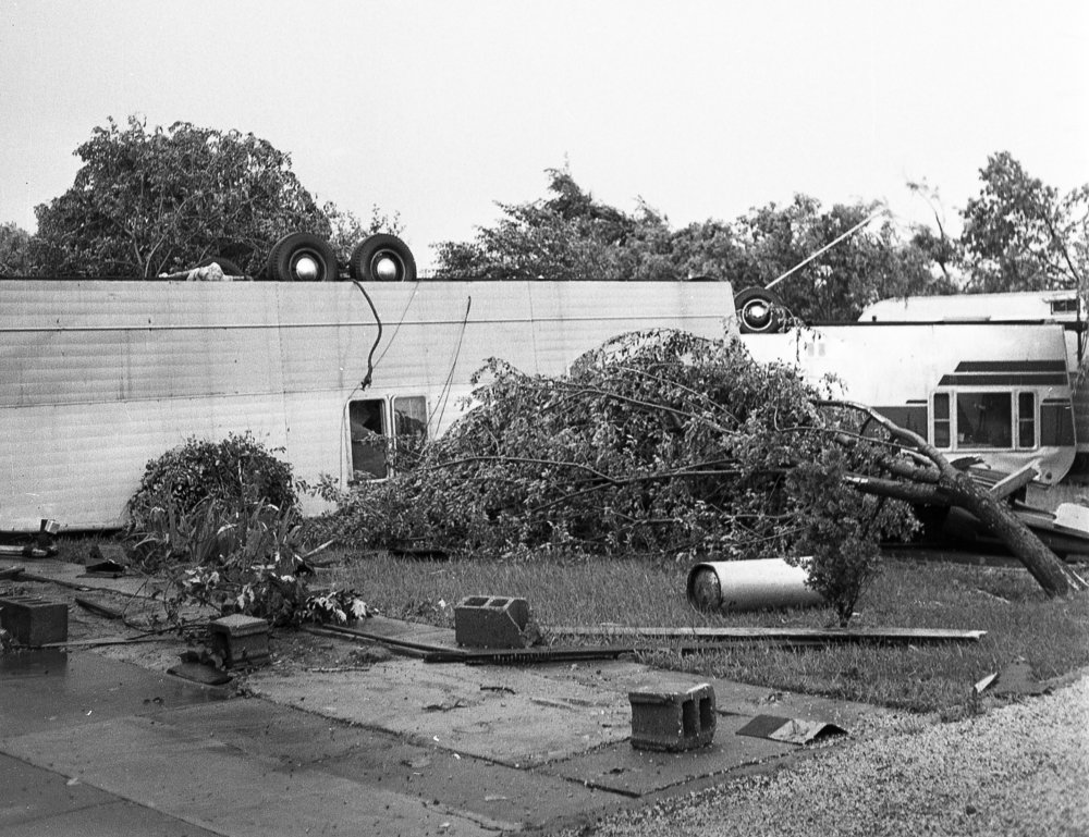 More than 11 homes in the Morris Trailer Court, 2103 E. Ash St. were upended when a tornado struck Springfield June 14, 1957. The storm caused more than $1 million in damages, killed three people, injured more than 50 and destroyed 20 to 25 homes. File/The State Journal-Register