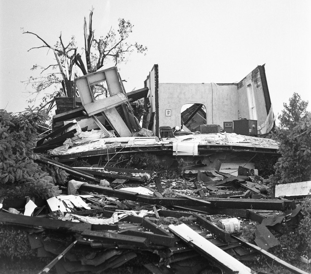A house in the 2100 block of East Ash Street was destroyed by a tornado that struck Springfield June 14, 1957. The storm caused more than $1 million in damages, killed three people, injured more than 50 and destroyed 20 to 25 homes. File/The State Journal-Register