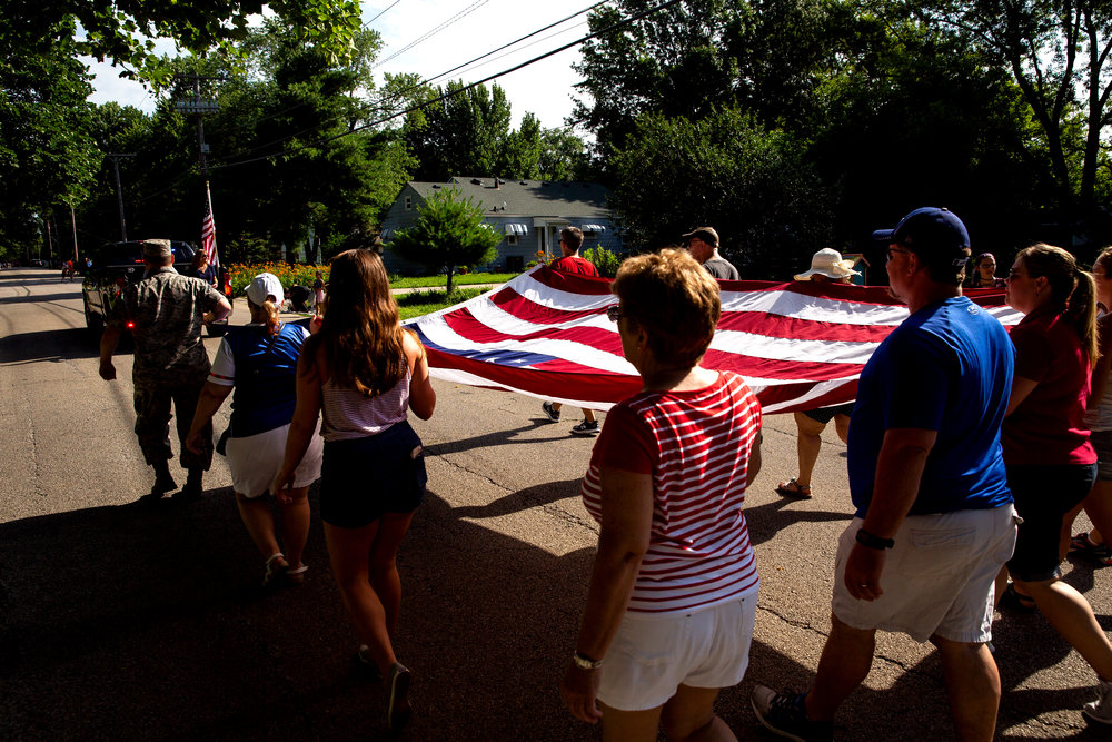 The American flag leads the way at the start of the Village of Jerome's July 4th parade Wednesday, July 4, 2018 in Jerome, Ill. [Rich Saal/The State Journal-Register]