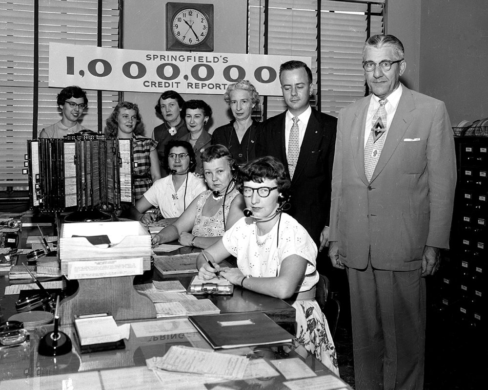Springfield Credit Bureau office and staff, recorded its one-millionth call requesting credit report, published ISJ July 20, 1955, P.8. See related article ISJ July 17, 1955, P. 15. File/The State Journal-Registerpicpast; spihistory; archive; economyPublished as Picturing the Past July 22, 2018.