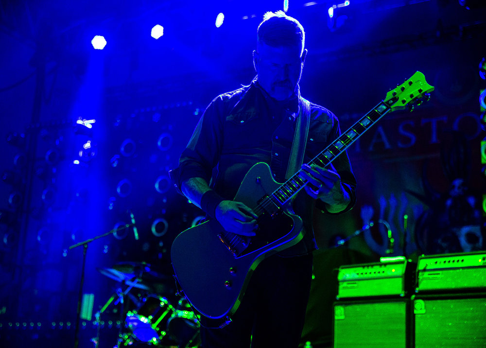 Bill Kelliher on guitar with Mastodon as the band performs on the Grandstand Stage during the Illinois State Fair, Saturday, Aug. 11, 2018, in Springfield, Ill. [Justin L. Fowler/The State Journal-Register]