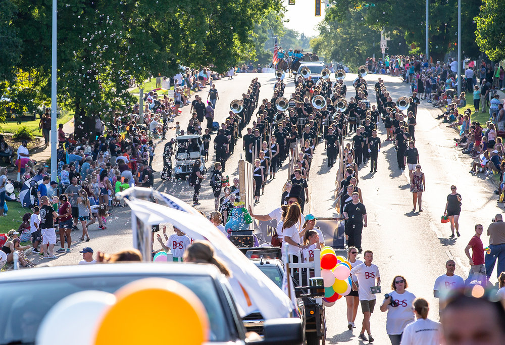 The Normal Marching Band heads down Sangamon Avenue during the Illinois State Fair Twilight Parade, Thursday, Aug. 9, 2018, in Springfield, Ill. [Justin L. Fowler/The State Journal-Register]