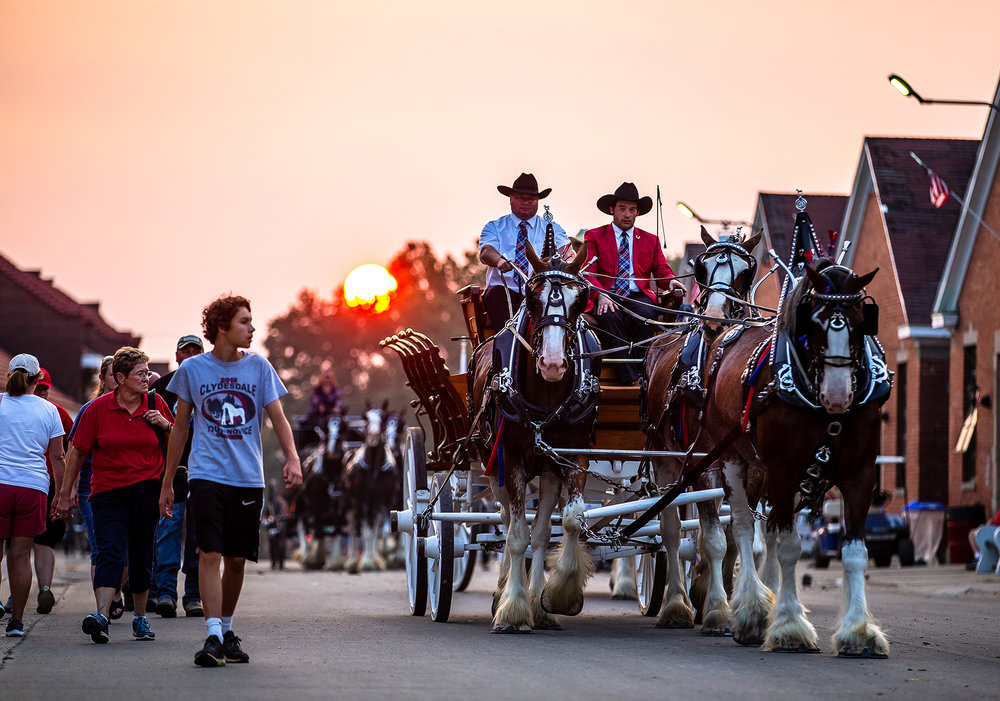 Linden Clydes bring their hitch down Central Avenue on their way to show during the Illinois State Fair at the Illinois State Fairgrounds, Sunday, Aug. 12, 2018, in Springfield, Ill. [Justin L. Fowler/The State Journal-Register]