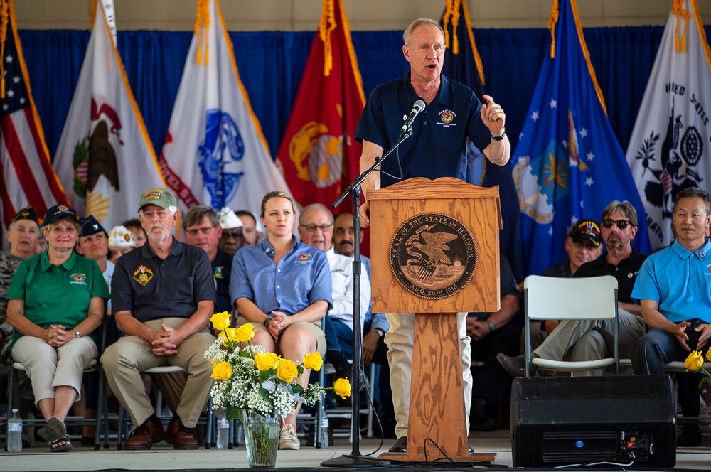 Illinois Governor Bruce Rauner delivers his remarks during the Veterans Day program at the Illinois State Fair on the Lincoln Stage at the Illinois State Fairgrounds, Sunday, Aug. 12, 2018, in Springfield, Ill. [Justin L. Fowler/The State Journal-Register]