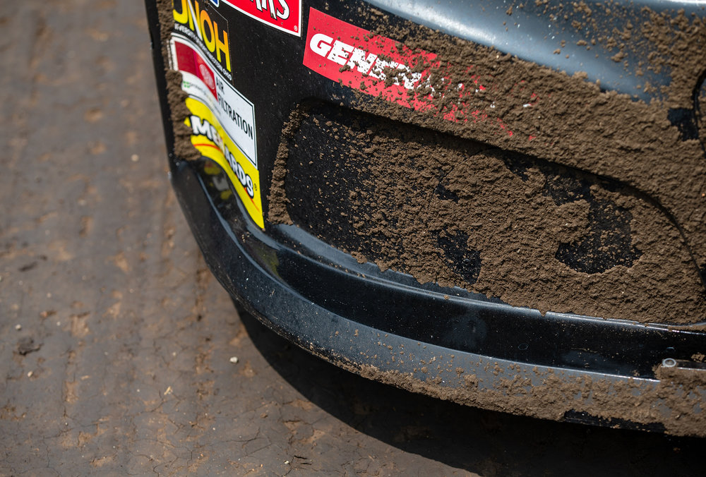 A few laps around the track has dirt caked on the front clip of one of the cars in the starting grid prior to the ARCA Racing Series Allen Crowe 100 on the Springfield Mile during the Illinois State Fair at the Illinois State Fairgrounds, Sunday, Aug. 19, 2018, in Springfield, Ill. [Justin L. Fowler/The State Journal-Register]